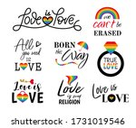 pride sign with rainbow colors. ...   Shutterstock . vector #1731019546