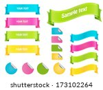 ribbons and stickers set | Shutterstock .eps vector #173102264