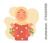 happy hijab woman showing... | Shutterstock .eps vector #1731024550