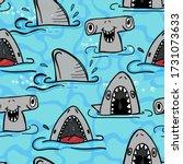 seamless  sketch  shark pattern ... | Shutterstock .eps vector #1731073633