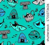 seamless  sketch  shark pattern ... | Shutterstock .eps vector #1731073636