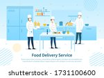 food delivery service showing... | Shutterstock .eps vector #1731100600