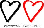 Black And Red Heart Shape....