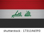 Abstract flag of Iraq made of circles. Iraqi flag designed with colored dots giving it a modern and futuristic abstract look.