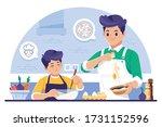 parents teaching cooking... | Shutterstock .eps vector #1731152596