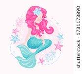 mermaid on white background....   Shutterstock .eps vector #1731173890