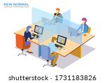 new nomal office  concept... | Shutterstock .eps vector #1731183826