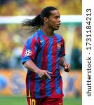 Small photo of Paris, FRANCE - May 17, 2006: Ronaldinho looks on during the UEFA Champions League final 2005/2006 FC Barcelona v Arsenal FC at the Stade de France.