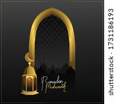 ramadan mubarak with black and... | Shutterstock .eps vector #1731186193
