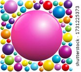 pink ball among many colorful...   Shutterstock .eps vector #1731225373