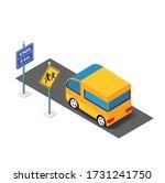 isometric school bus urban... | Shutterstock . vector #1731241750