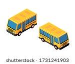 isometric school bus urban... | Shutterstock . vector #1731241903