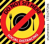 social distancing seating signs ... | Shutterstock .eps vector #1731247246
