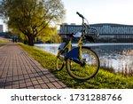 Yellow Rental Bike In The City. ...