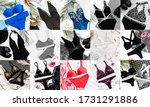 collage  women's swimwear and...   Shutterstock . vector #1731291886