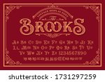 a vintage font with upper and... | Shutterstock .eps vector #1731297259