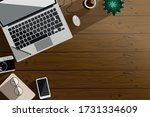 workspace  top view of the... | Shutterstock .eps vector #1731334609