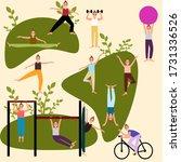 girls women training fitness... | Shutterstock .eps vector #1731336526