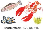lobster  muscles  salmon and... | Shutterstock . vector #173133746