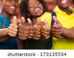 group of african friends thumbs ... | Shutterstock . vector #173135534