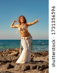 Woman In A White Belly Dance...