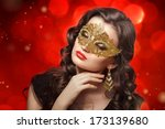 young beautiful woman in golden ... | Shutterstock . vector #173139680