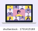 conference video call  remote... | Shutterstock .eps vector #1731415183