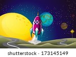 Illustration Of A Spaceship In...