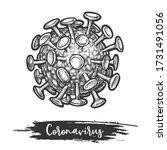 sketch of coronavirus cell.... | Shutterstock .eps vector #1731491056