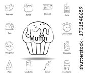 fast food muffin outline icon....