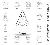 fast food pizza outline icon....