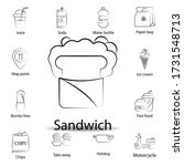 fast food sandwich outline icon....