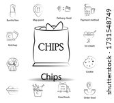 fast food chips outline icon....