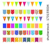 set garlands of colored flags. | Shutterstock . vector #173155034