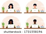 working at home concept ... | Shutterstock .eps vector #1731558196