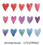 set of colored watercolor hearts | Shutterstock .eps vector #173159063
