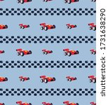 seamless pattern  race car with ... | Shutterstock .eps vector #1731638290