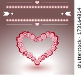 heart with hand drawn flowers.... | Shutterstock .eps vector #173164814
