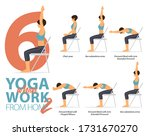 infographic of 6 yoga poses for ... | Shutterstock .eps vector #1731670270