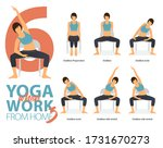 infographic of 6 yoga poses for ... | Shutterstock .eps vector #1731670273