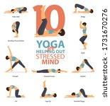 infographic of 10 yoga poses... | Shutterstock .eps vector #1731670276