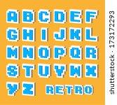 retro pixel alphabet   Shutterstock .eps vector #173172293