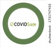 covid safe green sticker vector ... | Shutterstock .eps vector #1731747433