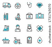 set of medical icons in blue... | Shutterstock .eps vector #1731765070