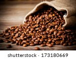 the sack of coffee beans on... | Shutterstock . vector #173180669