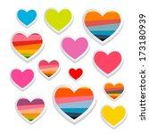 Vector Paper Heart Symbols Set...