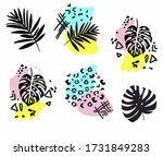 tropical print with palm leaves ...   Shutterstock .eps vector #1731849283