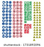 iso 7010 sign warning set... | Shutterstock .eps vector #1731892096