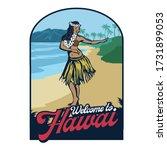 hula dance girl in beach hawaii ... | Shutterstock .eps vector #1731899053