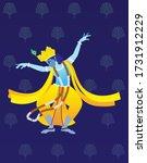 dancing lord krishna in indian... | Shutterstock .eps vector #1731912229